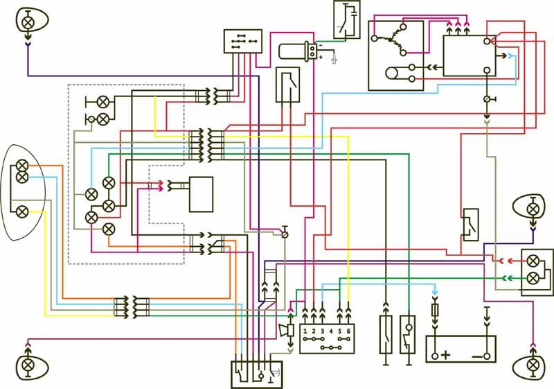 цветная схема подключения катушек иж юпитер 5
